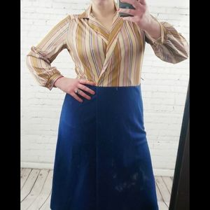 VINTAGE 1970's Striped & Navy Shirtwaist Dress
